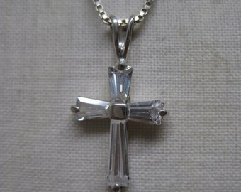 Cross Sterling Clear Stone Necklace Vintage Pendant 925 Silver Christian CZ