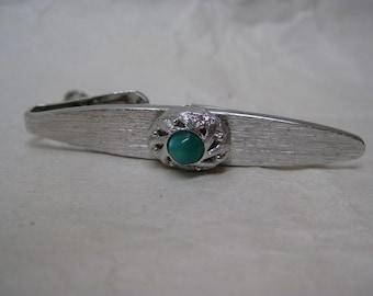 Green Silver Moonstone Tie Clip Bar Vintage Swank