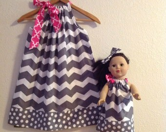 dress Gray chevron pillowcase dress  matching American Girl Doll dress 3, 6, 9 12, 18 month 2t,3t,4t,5t,6,7,8,10,12