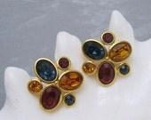 Big Colorful Rhinestone Earrings Jewel Tone Napier Vintage Jewelry X80