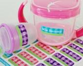 lime stripes personalized dishwasher safe labels, set of 2 sheets, 48 labels