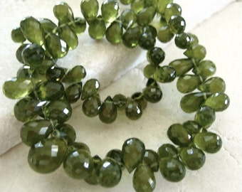 Green Vessonite Gemstone Faceted Briolette Beads 3.5x5.5mm to 4x6mm - Half Strand 4.25 Inches