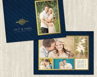 Navy and Brass Save the Date Photo Card | Photoshop Template for Photographers | Two Sided Design | Instant Download | CS4006-4