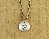 """1/2"""" Sterling Silver Hammered Handstamped Disk Round Charm with a Whimsical Heart, long box cable chain, love, anniversary, valentine"""