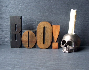 Scary BOO - Large Vintage Letterpress Word for Halloween