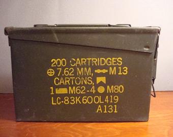 Nice vintage green metal ammunition box