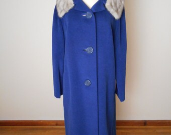 Vintage Gorgeous 50's Wool / Fur Blend Coat, BLUE with Silver Mink Collar
