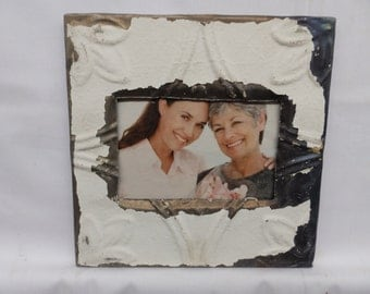 "AUTHENTIC Tin Ceiling 3"" x 5"" Shabby  Chic Picture Frame Reclaimed Photo S-2086-14"