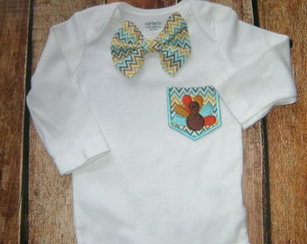 Little Man Turkey Pocket Tee with Matching Bow Tie
