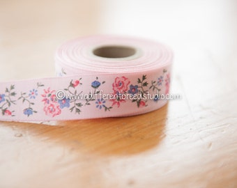 3 yards Vintage Ribbon Trim - Pretty Pink Floral Daisies Roses Rosebuds Dolls