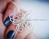 Butterfly Necklace - Large Sterling Silver Openwork Pendant  - Free Domestic Shipping