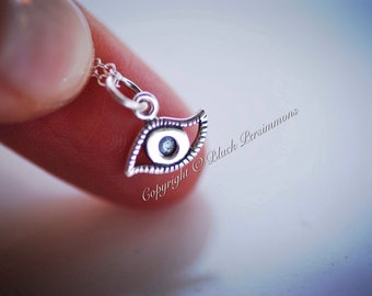 Evil Eye Necklace - Solid 925 Sterling Silver Charm - Free Domestic Shipping
