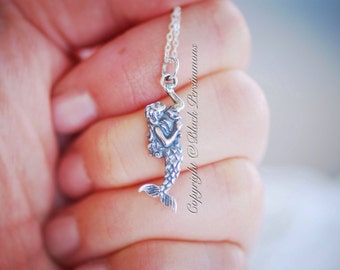 Little Mermaid Necklace - Sterling Silver Aquatic Creature Charm Pendant - Free Domestic Shipping