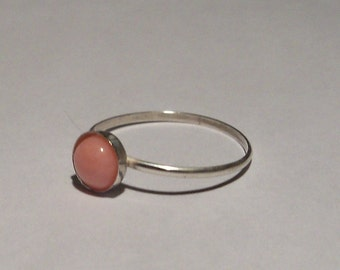 Pink coral and sterling silver stacking ring