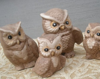 Vintage Miniature Ceramic Owl Family Set of Four