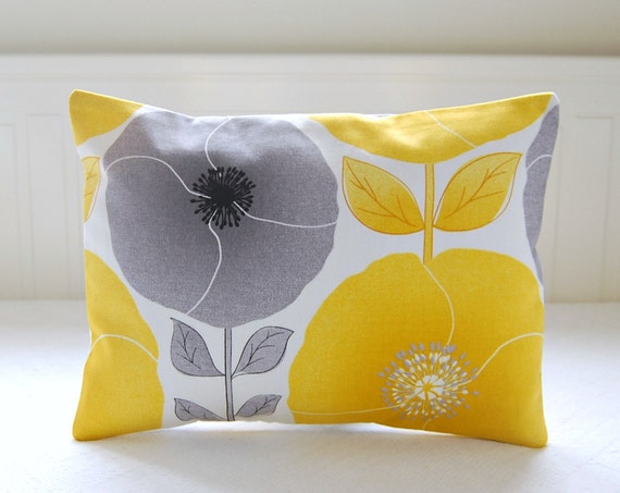 pillow cover yellow and grey poppies and leaves, lumbar cushion cover 12 x 16 inch