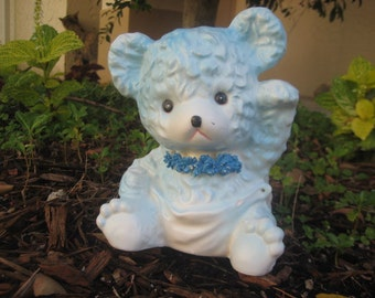 Vintage Relpo Blue Teddy Bear Planter