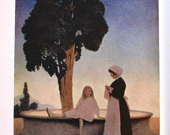 The Lure of the Garden - 1911 - Maxfield Parrish illustration - Hildegarde Hawthorne - Gardening prose and illustrations