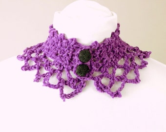 Radiant Orchid Purple Victorian Hand Crocheted Lace Neckwarmer Choker / Collar