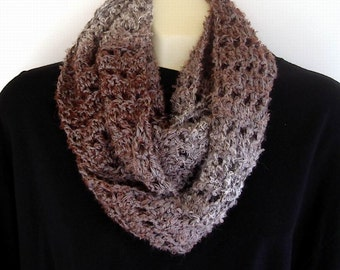 Gray & Brown Cowl Neck Warmer Infinity Scarf Gradated Color Soft Winter Fashion
