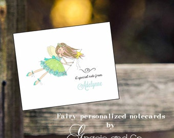 Custom personalized note cards fairy  princess thank you notes hand drawn hand designed stationery princess party birthday notes