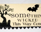 Altered Vintage Flash Card - Halloween - Something Wicked This Way Comes