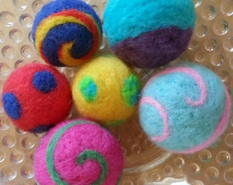Large Size Needle Felted Cat Toy Ball - One ball.