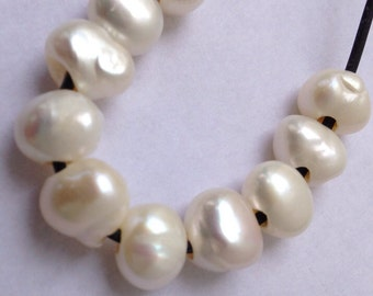 Large Hole Pearl Baroque 9.5-10mm pebble Nugget Pearl Freshwater Pearl Natural white ivory 10Pc  2.5mm hole--high quality #LH8022