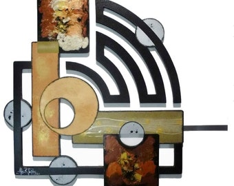 New Stylish Contemporary Modern Geometric Abstract Art Wood and metal Wall Sculpture 41x32 Custom Wall Decor
