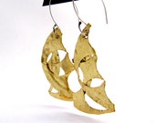 Asymmetric Earrings, Gold Contemporary Asymmetrical Dangles, Gold Jewelry, Modern Mexican Gold earrings