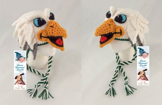 Crochet Pattern 095 - Swoop the Philadelphia Eagle Hat - All Sizes
