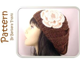 Knitting Crochet Pattern Slouchy Beret Rib Design with Flower