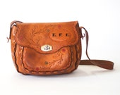 vintage 70s camel tooled leather purse / country western bag / boho hippy festival chic