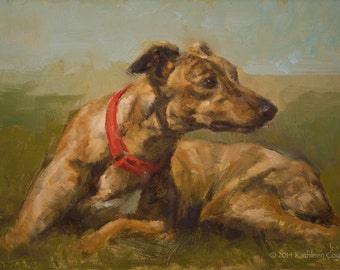Brindle Greyhound, Small Original Painting by Kathleen Coy
