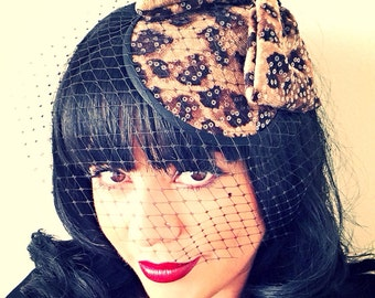 FANCY CAT Leopard Print Bow fascinator hat