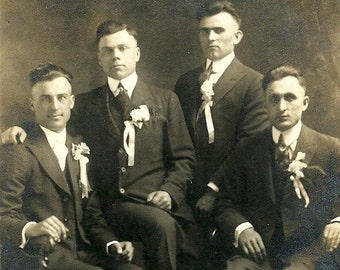 Antique Wedding RPPC Real Photo Postcard Handsome Groomsmen Vintage Photograph Post Card