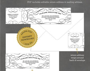 INSTANT DOWNLOAD Printable Flourish Address Label, Editable Address Label Template