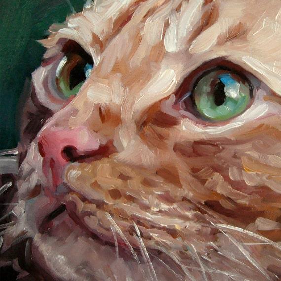 GreenEyedTabby Custom Pet Portrait Oil Painting By Puci