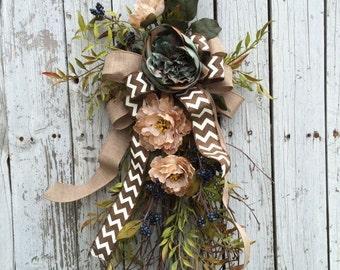 Everyday Wreath for Door, Door Swag, Flower Door Wreath, Blue and Brown Flower Swag