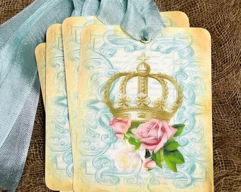 French Crown Pink Rose Gift or Scrapbook Tags or Magnet #24