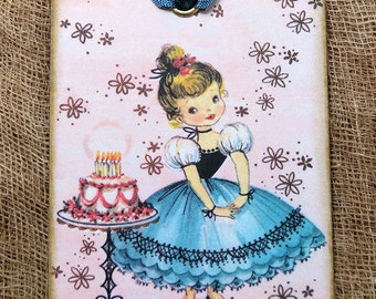 Retro Happy Birthday GirlWith Cake Gift or Scrapbook Tags or Magnet #10