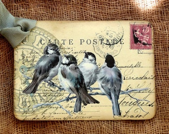 French Bird Postcard Tags #648