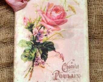 French Chocolate Pink Rose Tags #280