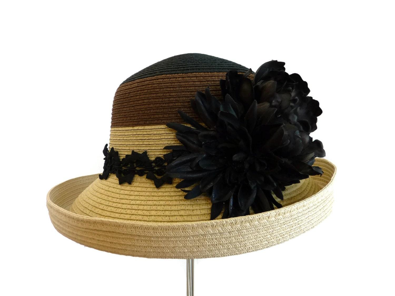 womens hat easter hat tea hat race day hat in black