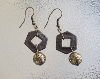 Antique HARDWARE JEWELRY  Earrings,Ooak,Brown Boho Jewelry,Repurposed Hardware,Hammered Keeler Brass Backing Plateswith Filligree Beadss Ha