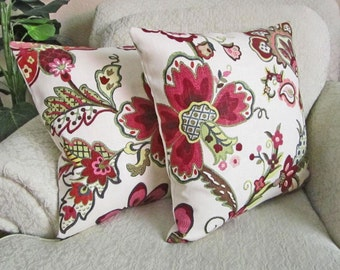 Raspberry Red Berry Floral Decorator Pillows, Decorative Throw Pillow Covers, Pink, Green, Slate Blue - Set of Two - 18 x 18 Garden Crewel