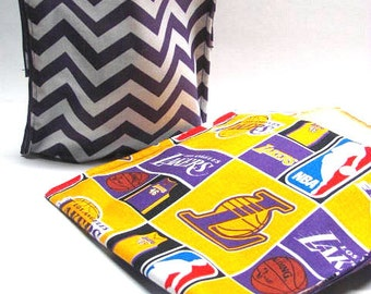 2 PC LA Lakers ReUsable Sandwich and Snack Bag Set Eco Friendly Lunch Kit, NBA Basketball Ready to Ship