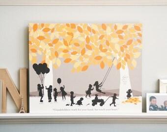 Grandparent Silhouette Art Gift, Grandchildren Art Print Personalize with Grandkids Silhouettes // Choose Print Size & Type // H-F05-1PS HH9