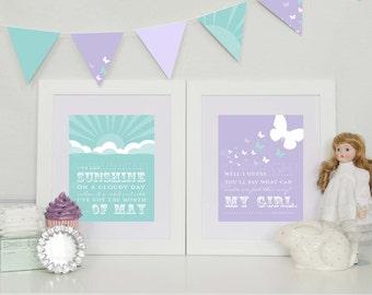 My Girl/I've got Sunshine, Temptations Art Print Set // Archival Giclee Art Prints for Nursery / Child Room // Custom Match // N-G55-2PS AA1