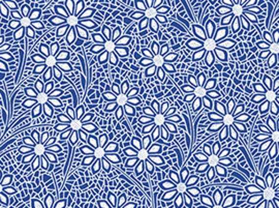 Delft Fabric Blue Floral 1 2 Yard By Kensington Studio For